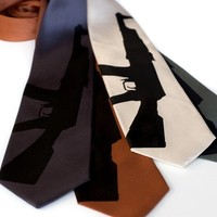 AK47 tie Screen printed machine gun necktie by Cyberoptix on Etsy