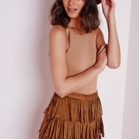 Missguided - Suede Fringe Shorts Tan