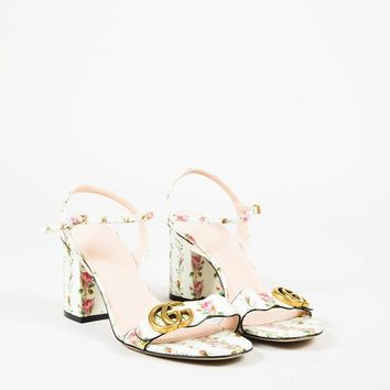 """Gucci White Multicolor Leather Floral Print 'GG' """"Marmont"""" Sandals"""