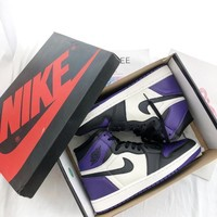 ❤shosouvenir❤ NIKE Air Jordan 1 Pine Green AJ1 Black purple toe basketball shoes