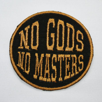 No Gods No Masters Patch Feminist Atheist Anarchy