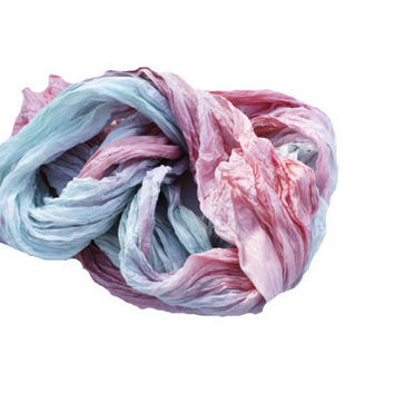 Grace -  mint, coral, pink, green silk ruffled scarf.