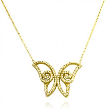 "TIONEER® Fancy Large Butterfly 18K Yellow Gold Plated Sterling Silver Necklace with 16""+2"" Chain"
