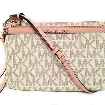 Michael Michael Kors Jet Set Travel Large Pocket Messenger Bag Vanilla Ballet