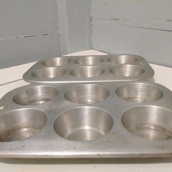UAP, Muffinaire, Muffin, Cupcake, Pan, 6 Cup, Vintage, Aluminum, Cup, Cake, Baking Tin, Made in the USA, RhymeswithDaughter