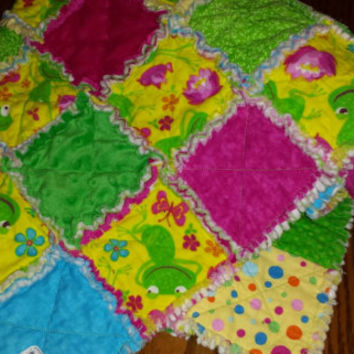 Rag Quilt Baby Blanket FeeLing FrOGGy Minky  Cotton & Flannel BRIGHT FuN CoLoRs! PreCioUS SnuGGLy Baby Shower Gift! Designs by Sugarbear
