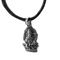 Ganesh Charm Necklace (Many Chain Lengths Available) Choker Silver Chain
