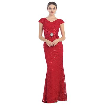 Short Sleeved V Neckline Long Red Lace Column Gown