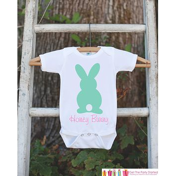 Honey Bunny Onepiece Bodysuit - Novelty Bodysuit Makes a Great Baby Shower Gift for a New Baby Girl - Easter Outfit - Girl's Spring Outfit