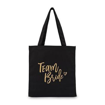 Team Bride Black Canvas Tote Bag Tote Bag with Gussets (Pack of 1)