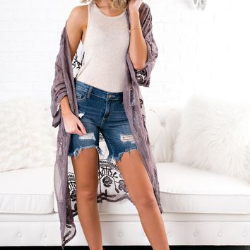 Fall For You Lace Kimono (Midnight)