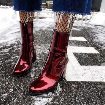 Patent Leather PU Ankle Boots