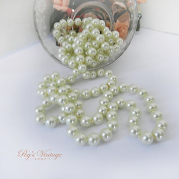 Vintage Long Faux Pearl Single Strand Necklace, Ivory Cream Off White Knotted Glass Pearl Bead Necklace