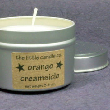 Soy Candle Tin // Orange Creamsicle // Highly Scented Container Candle // Mother's Day Gift // Wedding Favor // Primitive Home Decor