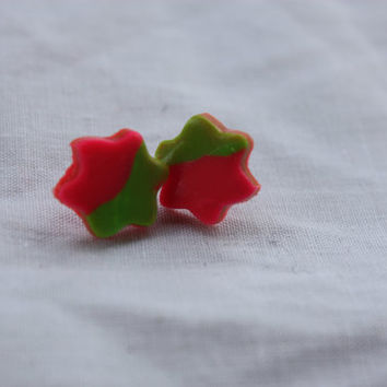 Polymer Clay Earrings Green and Pink by DragonFeetDesigns on Etsy