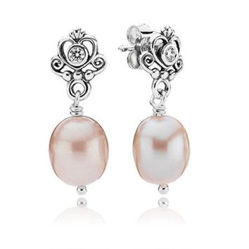 DCCKG2C Pandora My Sweet Princess Earrings with Clear CZ and Natural Fresh Water Pearls