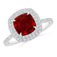 Diamond Double Halo Claw Ruby Cocktail Ring
