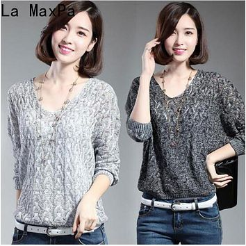 LA MAXPA Autumn Spring Women Knitted Sweater Thin Fashion Linen Pullovers Batwing Long Sleeve Tops Casual Loose Women Clothing