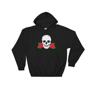 Skull and Rose Hooded Sweatshirt Black