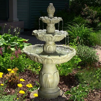 Classic Tulip 3-Tier Fountain by Sunnydaze Decor - Garden Stone Finish