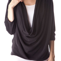 Black Cowl Neck Top with Dolman Sleeves