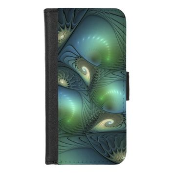 Cool Spirals Beige Green Turquoise Fractal iPhone 8/7 Wallet Case