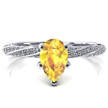 Elysia Pear Yellow Sapphire 5 Prong 3/4 Eternity Diamond Accent Ring