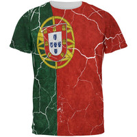 Distressed Portuguese Flag All Over Mens T Shirt