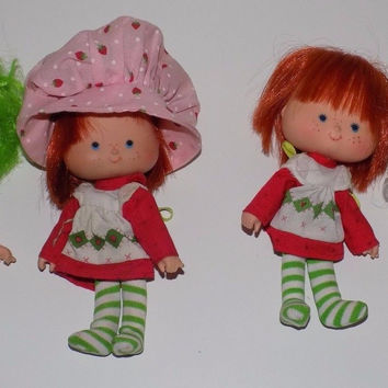 Set of Four 1979 American Greetings Strawberry Shortcake Dolls Lime Angel Cake