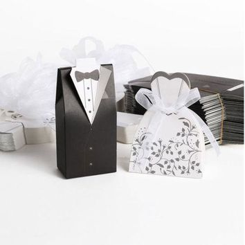 100Pcs Wedding Favor Candy Box Chocolate Box Bride Groom Dress Tuxedo Party Ribb