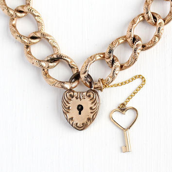 Antique Padlock Bracelet - Rose Gold Filled Victorian Era Heart Charm With Key - Vintage 1900s Linked Heart Lock Pendant Rare Jewelry
