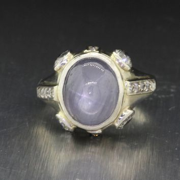 1930s Antique Art Deco 18k Solid White Gold Star Sapphire .54ctw Diamond Ring