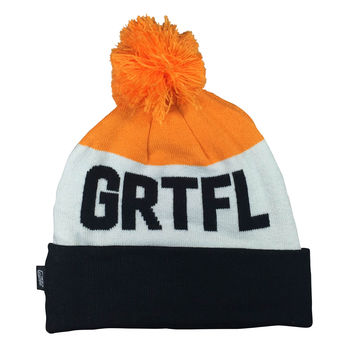 GRTFL 3T Beanie, Blk/Orange/White