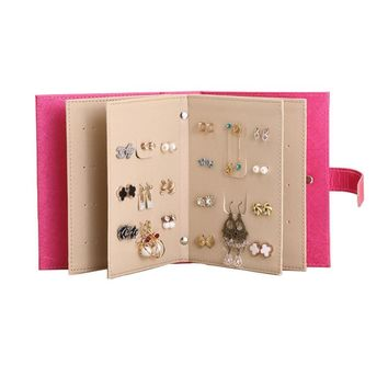 Mordoa 2018 New Design Jewelry Boxes And Packaging Pu Leather Stud Earrings Collection Book Creative Jewelry Display Jewellery