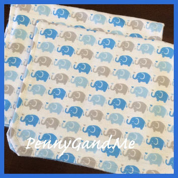 Personalized Elephant Burp Cloths ~ Circus Burp Cloths ~ Flannel Burp Cloths ~ Set of 2 or 3