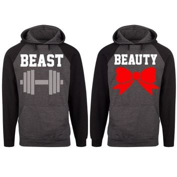 Beast and Beauty Two-tone Charcoal / Black Raglan Hoodie