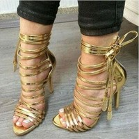 Hot Selling Women Fashion Open Toe Gold Leather Straps Design High Heel Sandals Lace-u