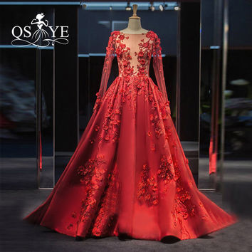 Luxury Red Long Evening Dresses 2017 Real Photos Sheer Boat Neck Long Sleeves 3D Floral Flowers Prom Dress Formal Gowns
