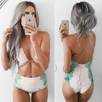 Leaves printed sexy rope tied one-piece swimsuit
