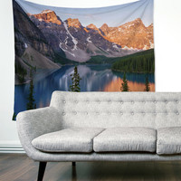 Evergreen Lake Mountains Boho Gypsy Unique Dorm Home Decor Wall Art Tapestry