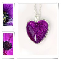 Purple Necklace Heart. Sparkle jewelry. romantic purple glitter jewelry.Pendant