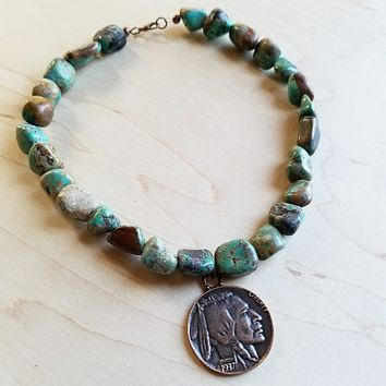 African Turquoise Collar-Length Necklace with Indian Head Coin