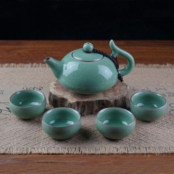 CREYLD1 Chinese Porcelain Tea Set 1 Pot and 4 Cups Longquan Celadon kung Fu Tea Bowls Christmas Gifts