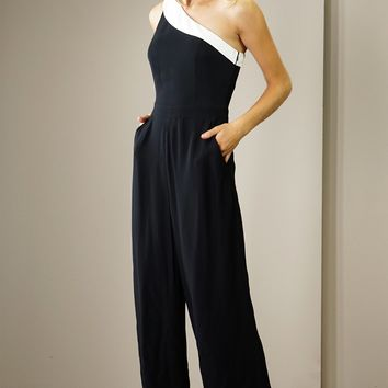Vero One Shoulder Color Block Jumpsuit