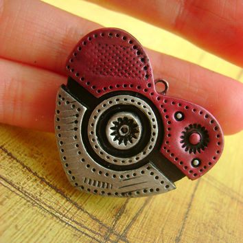 I Choose You PokéHeart - Pokémon Inspired Industrial / Steampunk Flat Heart - Necklace / Pendant