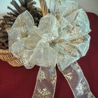 Gold Iridescent Bow, Christmas Bow Topper, Gold Wreath Bow, Gold Christmas Bow, Tree Topper Bow, Garland Bow