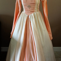 "Bust 40"" Apricot Tudor Dress Ever After Renaissance Medieval Gown Game of Thrones Theme Wedding"