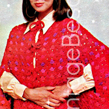 Dotted CAPELET w tie bows 1970s Vintage CROCHET Pattern Retro Instant Download Pdf  Stave off the cool breezes in style & perfect arm slits