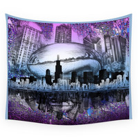 Society6 Chicago City Skyline Wall Tapestry