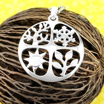 Four Seasons Necklace with Snowflake, Sun, Buds, Leaves